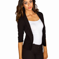 Single Button Blazer - Black