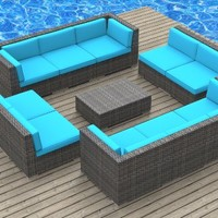 UrbanFurnishing.net 11a-burmuda-seablue 11 Piece Modern Patio Furniture Sofa Sectional Couch Set