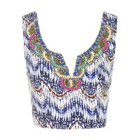 **Embroidered Aztec Crop Top by Glamorous - Blue