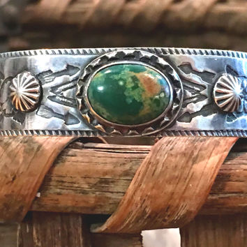 Fred Harvey Turquoise Tourist Bracelet Navajo Sterling Silver
