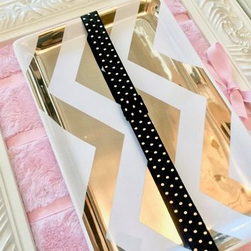 Metallic Gold Polka Dots on Black Planner Band with Pen Loop