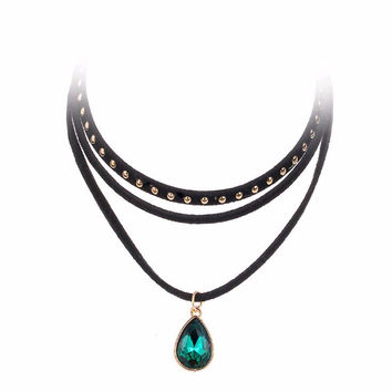 Steampunk 3 Layers Black Ribbon Chocker Necklace Women Fashion Jewelry Bib Necklace Collier Bijoux Femme Collares