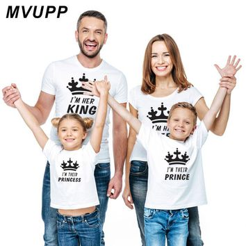 Cool Family Look mommy and me Matching Outfits Clothes Father Mother mom Daughter Son baby Boys Girls T-shirt King Queen tshirt SummeAT_93_12