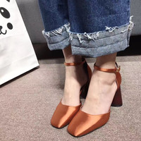 2017 New Arrival Real Silk Ankle Strap Pumps 8cm Black Red Green Pink Orange Shoes Woman High Heel Square Toe