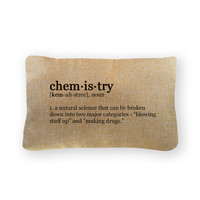 "Chemistry Definition Pillow Cover - Natural Color - Zipper Enclosure - 12""x18"""