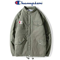 Champion Autumn And Winter Fashion New Bust And Embroidery Logo Letter Thick Keep Warm Couple Long Sleeve Top Coat Green