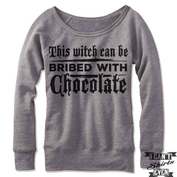 This Witch Can Be Bribed With Chocolate Off Shoulder Sweater.