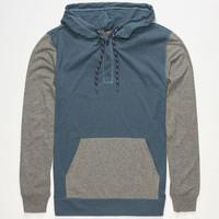 Retrofit Sierra Mens Lightweight Henley Hoodie Blue  In Sizes