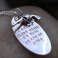 Walk the line Johnny Cash hand stamped necklace