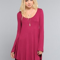 Sabrina Bell Sleeve Dress - Burgundy - Dresses - Clothes | GYPSY WARRIOR