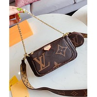 LV Louis Vuitton Newest Popular Women Metal Chain Leather Shoulder Bag Handbag Crossbody Satchel Coffee