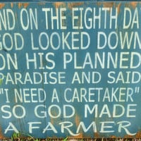 God Made A Farmer Sign Primitive Wooden Distressed Sign Recycled Pallet Handmade Sign Handpainted Sign Shabby Chic Subway Sign Signage