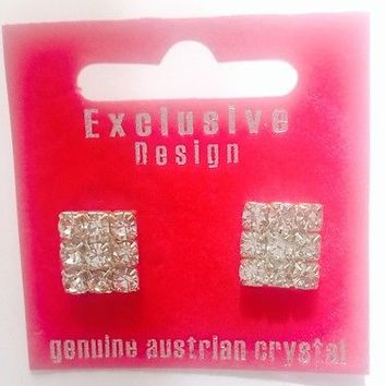 Beautiful Genuine Austrian Crystal Exclusive Design Square Shaped Dress Earrings