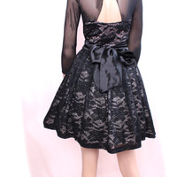 Lace Black / wedding party /cocktail / bridesmaid/ 3/4 sleeves / dress