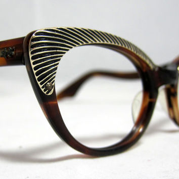 Vintage 60s Cat Eye Glasses. Amber Tortoise with Gold Textured Designs