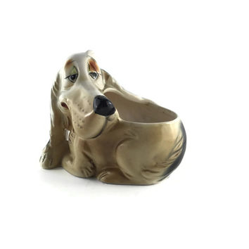 Ceramic Dog Planter, Made In Japan, Gift for Mom, Gift for Dog Lover, Inarco Pottery