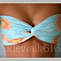 Mint Orange Floral Bandeau Top Spandex Bandeau Bikini Swimsuit