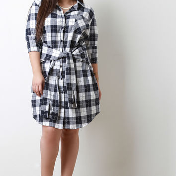 Tied Waist Plaid Shirt Dress