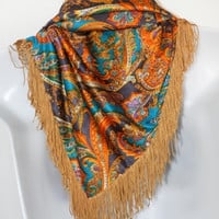 Vintage Paisley Shawl Wrap Hip Scarf Fringed Gold Purple Teal Orange Belly Dance Gypsy costume