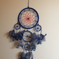 Large Blue & Red Vintage Dream Catcher