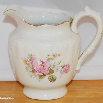 Brunt, Bloor, Martin and Company Small Dresden Semi-Porcelain Pitcher, Roses, Gold Trim, Antique (c. 1900)