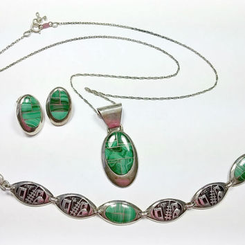 Vintage Navajo Teme Sterling Silver Green Malachite Demi Parure Necklace Pierced Earrings Bracelets Matching Pieces Nice Inlaid Stonework