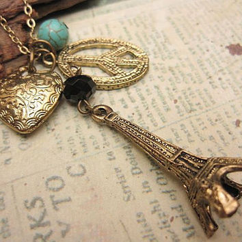 Love and Peace in Paris a charm necklace by trinketsforkeeps