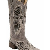 Corral® Ladies Distressed Brown w/Winged Cross Black Sequin Inlay Square Toe Western Boot