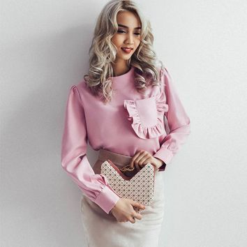 Vintage Ruffle Pocket Pink Blouse Long Sleeve Shirt Women Elegant Round Neck Casual Fitness Womens Summer Tops And Blusas 2017