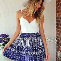 White Blue Printed V-neck Spaghetti Strap Sheath Pleated Mini Dress