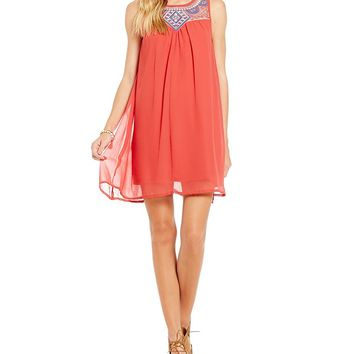 C&V Chelsea & Violet Embroidered Yoke Trapeze Dress | Dillards