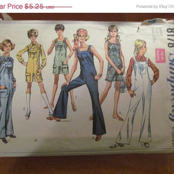 Sale 1969 Simplicity Juniors Sewing Pattern, 8178! Size 11, Bust 33 1/2, Juniors, Women's, Teens, Misses, Jumper Sewing pattern, Jumpsuit.