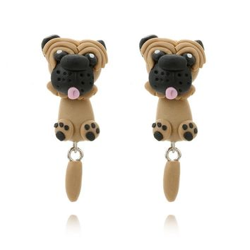 Fashion Handmade Polymer Clay Soft Cute Pug Dog Earrings For Women Cartoon Animal Piercing Ear Stud Earring Jewelry Gift