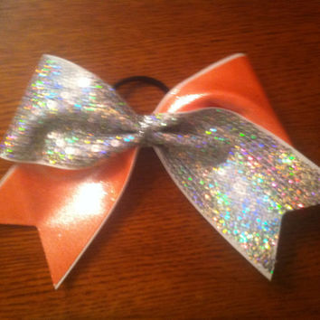 "3"", 3 inch cheer cheerleader bow SILVER sequins and ORANGE metallic--Team Bows"