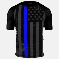 Tactical Thin Blue Line USA Flag Short Sleeve Jersey