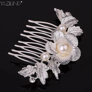 Charm Flower Rhinestone Hair Slide Floral Head Piece Pearl Wedding Hair Comb Clip Crystal Bridal Hairpin Jewelry Hair Accessory