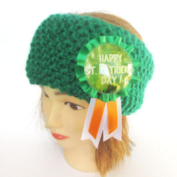 Irish green knit head band fleece lined st patrick's day ear warmer women wool bright green hair band knitwear warm chunky knitted headbands
