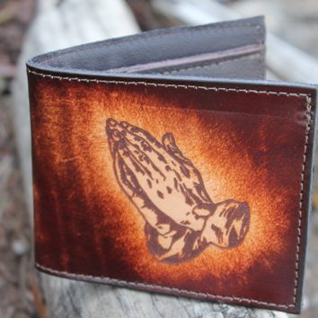 Handcrafted Genuine Cowhide Leather Bifold Wallet with The Lord's Prayer and Praying Hands Engraved