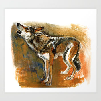 Desert Wolf (c) 2017 Art Print by Belette Le Pink
