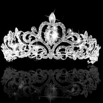 Wedding Bridal Princess Austrian Crystal Prom Hair Tiara Crown Veil Headband Silver [7655069894]