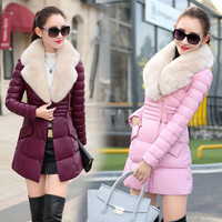 High-end pu lint coat long cotton-padded jacket to send hair collar [9036954060]