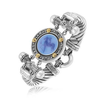 18K Yellow Gold and Sterling Silver Bluino Cameo Embellished Coin Motif Bracelet