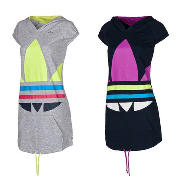 """Adidas"" Sports Casual Multicolor Clover Print Hooded Short Sleeve Knit Mini Dress"