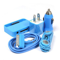 BLUE USB Data Cable+Car Charger+US Charger+Headset+Dock For iPod iPhone 3 4G 4S