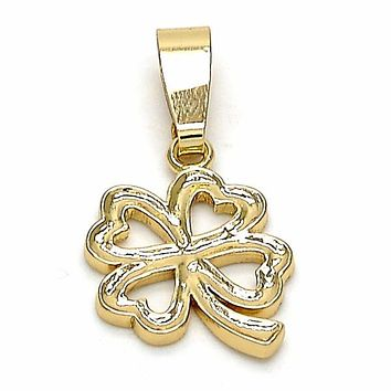 Gold Layered 5.179.036 Fancy Pendant, Four-leaf Clover Design, Polished Finish, Golden Tone