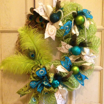 Peacock Feather Wreath, Grapevine Peacock Wreath, Peacock Feather Grapevine Wreath, Christmas Peacock Wreath, Christmas Wreath