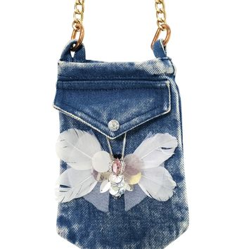 [ PRE ORDER !] DOLLY by Le Petit Tom ® ANGELS butterfly denim phone purse