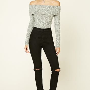 Marled Off-the-Shoulder Sweater
