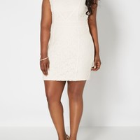 Plus Cream Lucky Lace High Neck Dress | Plus Mini Dresses | rue21