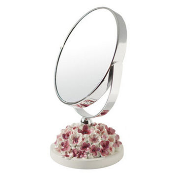 Continental Make-up Mirror 5-Inch Tabletop Two-Sided Cosmetic Mirror White/Pink